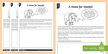 Hamlet's Ideal Home Activity Sheet - Hamlet, home, habitat, environment, Firework-Maker's Daughter, activity sheet, worksheet, elephant,