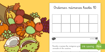 Ficha de actividad: Ordenar números hasta 10 - Otoño - otoño, ordenar, números, 1-10, hasta diez, hasta 10, mates, matemáticas, ficha, recortar, punzar,