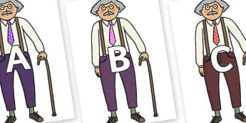 A-Z Alphabet on Little Old Man - A-Z, A4, display, Alphabet frieze, Display letters, Letter posters, A-Z letters, Alphabet flashcards