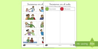 Ficha de motricidad fina: Recortar - Decisiones en el aula - comportamiento, comportarse, normas, aula, clase, colegio, escuela, ficha, recortar, punzar, eleccio