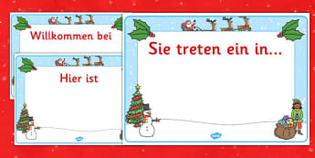 Christmas Editable Class Welcome Signs German - german, christmas, christmas welcome signs, christmas themed welcome signs, welcome signs, editable welcome signs