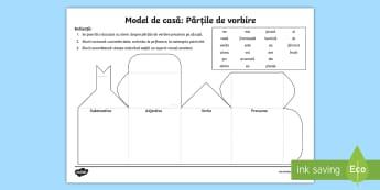 Căsuța cu părți de vorbire Joc - idei, idee, părți de vorbire, substantiv, verb, adjectiv, pronume, joc, suport vizual, materiale d