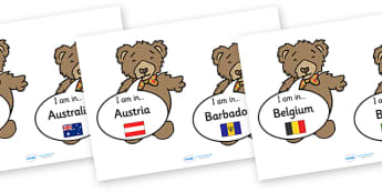 Barnaby Bear I Am in country Captions - barnaby bear I am in country display banner, barnaby, barnaby bear, bear, display, banner, sign, poster, world, where is, countries, world, I am in, country