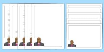 Desmond Tutu Page Border Pack - desmond tutu, cleric, south africa, apartheid, nobel peace Prize,