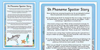 Sh Phoneme Spotter Story - EYFS, Early Years, KS1, Key Stage 1, phonics, Letters and Sounds, dfe, phonemes, alternative spellings, year 1, phase, 5, five