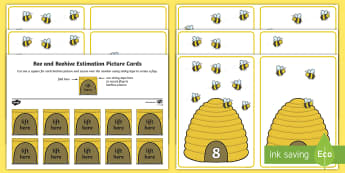 Bee and Beehive Estimation Picture Cards - Maths, number, counting, estimation, bees, minibeasts 1-10