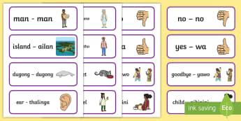 Creole Torres Strait Islander Language Word Cards - Australian Curriculum, HASS, The Ways In Which Aboriginal And Torres Strait Islander Peoples Maintai