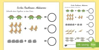 Dinosaurier Thematisiertes Addieren Arbeitsblatt: Erstes Rechnen (Addieren) - Dinosaurier Thematisiertes Addieren Arbeitsblatt: Erstes Rechnen, Dinosaurier Rechnen, Dino Rechnen,