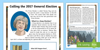 Calling the 2017 General Election Differentiated Fact File - theresa may, election, general election, reading comprehension, brexit, conservative, labout, libdem