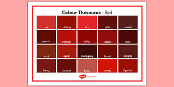 Colour Thesaurus Word Mat Red - colour thesaurus, colour, thesaurus, word mat, word, mat, red