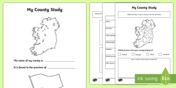 My County Activity Sheets - ROI - The World Around UsWAU, county, study, my place, my county, ireland, worksheets, Irish
