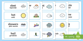 Weather Word Cards English/Romanian - Weather Word Cards - seasons, weather, flashcards, visual aids, waether, WHEATHER, seaons, wetaher,