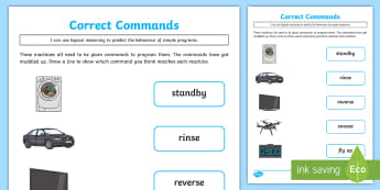 KS1 Correct Commands Activity Sheet - KS1, Curriculum Aims, Computing, technology, information technology, machines, commands, programs, i