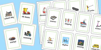 Two Syllable 'SC', 'SK' Playing Cards - sc, sk, playing cards, syllable
