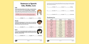 Sentences in Spanish Like, Dislike, Love - sentence, spanish, like, dislike, love
