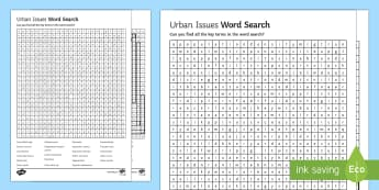Urban Issues Word Search - Urban Issues and Challenges AQA GCSE