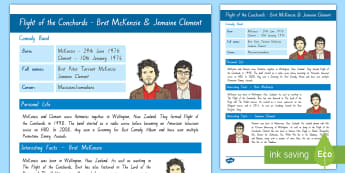 Flight of the Conchords Fact File - New Zealand Famous People, kiwis, celebrities, role models, famous people, New Zealand, Flight of th