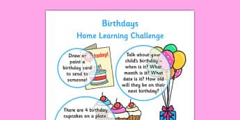 EYFS Birthdays Home Learning Challenge Sheet Nursery FS1 - EYFS planning, early years planning, homework, celebrations