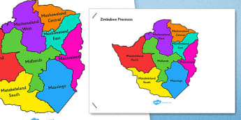 Zimbabwe Map - africa, geography, ks2, ks1, culture, topic, information, display,