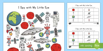 I Spy Space Activity Sheet - space, outer space, planets, graphing, counting, pre-K math, Kindergarten Math, worksheet