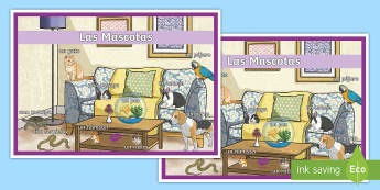 Spanish Pets Display Poster Spanish - Spanish, Vocabulary, KS2, pets, animals, display, poster, classroom, organisation, decoration