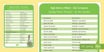 Kei te maara  In the garden Information Cards - Māori Phrase Book, maara, garden, kōrero māori