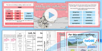 PlanIt Spelling Year 4 Term 3B W1: Adding the Suffix ous Spelling Pack - Spellings, Year 4, Term 3B, week 1, suffix, ous, spelling pattern, root word, spelling string