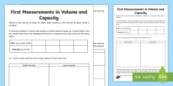 First Measurements in Volume and Capacity Activity Sheet - Learning from Home Maths Workbooks, volume, capacity, estimate, measure, water, liquid
