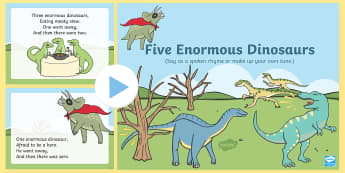 Five Enormous Dinosaurs Counting Song PowerPoint - Dinosaur, Song