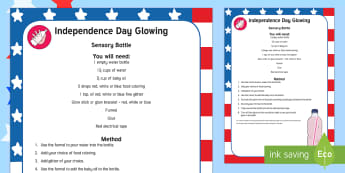 Independence Day Glowing Sensory Bottle - Independence Day, 4th July, July 4th, American Independence, sensory bottle, Independence day sensor