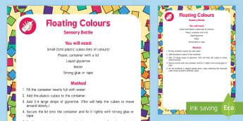 Floating Colours Sensory Bottle - Elmer, David McKee, colour, floating, colours, shapes, cubes