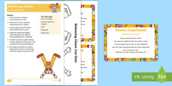 EYFS Balancing Clown Science Experiment and Prompt Card Pack - EYFS, Early Years, Circus, clowns, balance, balancing model, Science, Understanding the World.