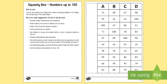 Squashy Boxes Numbers to 100 Craft - squashy box, squashy boxes, squashy, box, boxes, numbers, number, numbers to 100, craft, activity, maths, mathematics