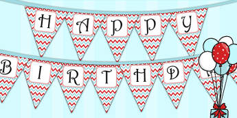 Zig Zag Birthday Party Happy Birthday Bunting Red And Blue