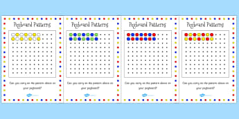 Pegboard Complete the Pattern Cards - activity, games, activity