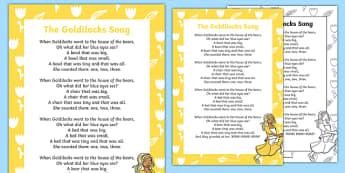 Goldilocks Song Lyrics - goldilocks, traditional tales, songs