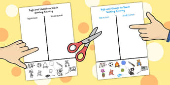 Safe and Unsafe to Touch Sorting Activity - sorting, activity