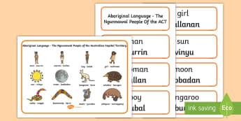 Ngunnawal Aboriginal Language Word Mat and Word Card Resource Pack - Australian Curriculum, Aboriginal and Torres Strait Islander Peoples, justice, marriage, birth, resi