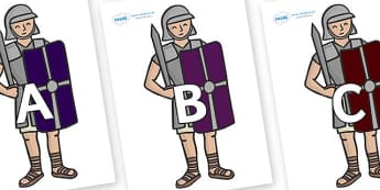 A-Z Alphabet on Roman Soldiers - A-Z, A4, display, Alphabet frieze, Display letters, Letter posters, A-Z letters, Alphabet flashcards