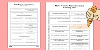1999 Curriculum Senior Infants Maths Measures Assessment Group Colouring Sheet - assessment checklist, maths, senior infants, data
