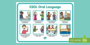 ESOL Oral Language Target Display Poster - ESOL, ELLP, New zealand, oral language, target cards, conversations, speaking and listening, languag