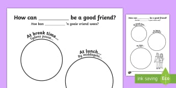 How Can I Be a Good Friend? Writing Frame Afrikaans Translation - transition, ourselves, oursleves, bullying, buly, bulying, ourselvs, trasition, bump up day, tranist