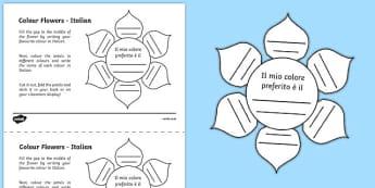 MFL Italian Colour Flowers Activity Sheet, worksheet