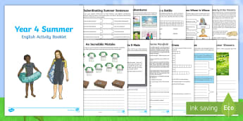 Year 4 Summer English Activity Booklet - y4, revision, holiday, homework, spag, writing, reading, home learning, transition
