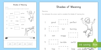 Shades of Meaning Activity Sheet - Shades of meaning, common core, synonyms, kindergarten, eLA, worksheet