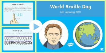 KS2 World Braille Day PowerPoint - KS1/2 World Braille Day  (4.1.17), braille, louis braille, planchette, night writing, blind, blind w