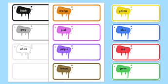 Editable Drawer Peg Name Labels Colours Names - name tags, signs