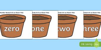 Number Words 0-31 on Flower Pots - number words, 0-31, flower pots, flower, pot, number, words, maths, mathematics