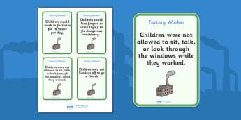 The Victorians Factory Worker Flash Cards - Victorians, Queen Victoria, factory, cards, word cards, flashcards, 19th century, British History, Britain, Victorian toys, Victorian school, butler