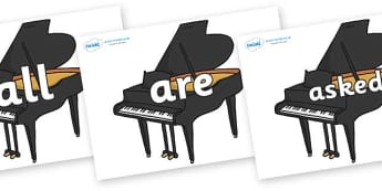 Tricky Words on Baby Grand Pianos - Tricky words, DfES Letters and Sounds, Letters and sounds, display, words